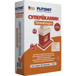 Раствор термостойкий Plitonit Суперкамин Термокладка серый 20 кг